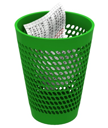 eliminate waste: Recycle bin in a white background
