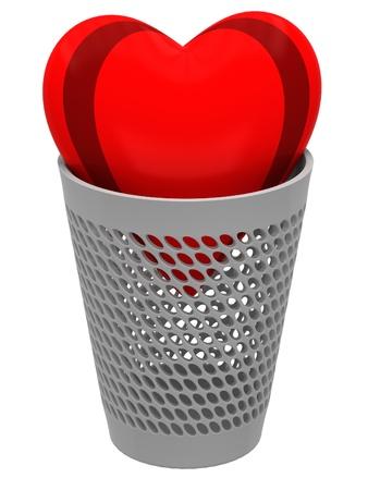 wastebasket: Red heart in a wastebasket