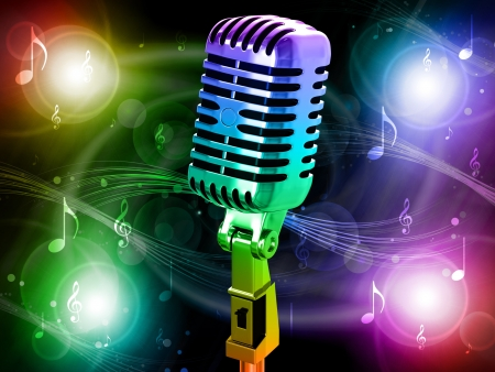 Microphone on abstract musical background Stock Photo - 18246413