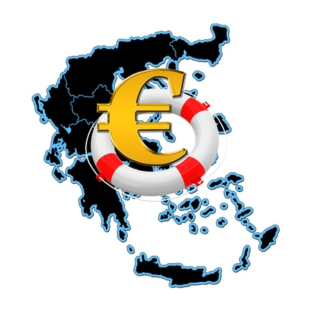 Map of Greece and lifebuoy with euro sign photo