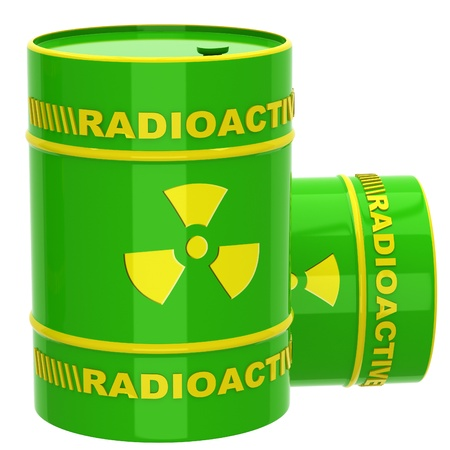 Green barrel with radioactive materials on a white background photo