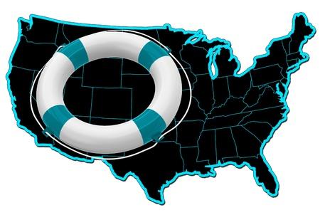 flotation: Map of USA and lifebuoy