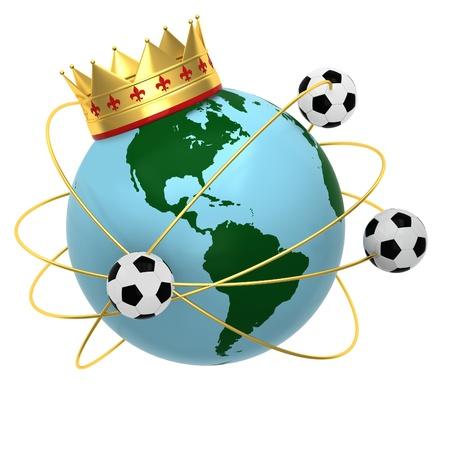 Soccer ball with crown and globe photo