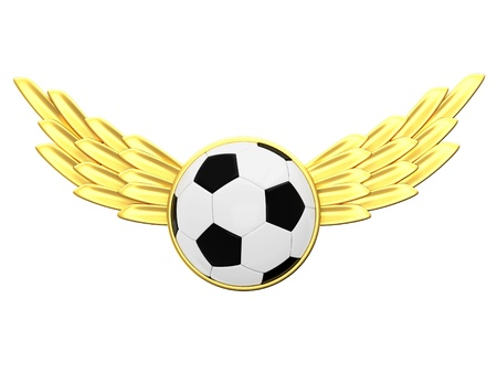 Soccer ball with gold wings photo