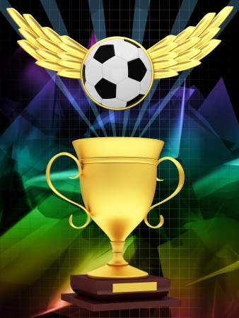 Gold Cup with a soccer ball with wings photo