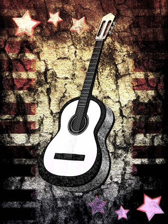 Background with a guitar photo