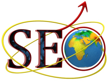 Illustration of text SEO with earth globe illustration
