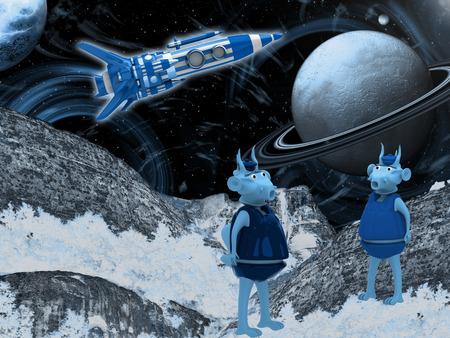 saturn rings: Spacecraft Landscape - Other Worlds