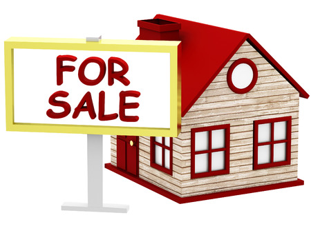 housing crisis: Home for Sale sign on white background Stock Photo