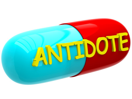antidote: Pill with inscription antidote Stock Photo