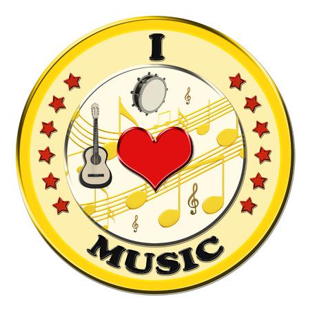 sonata: I love music button on a white background