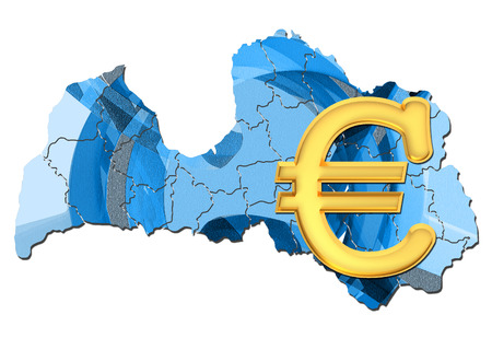 eurozone: Map of Latvia with euro sign