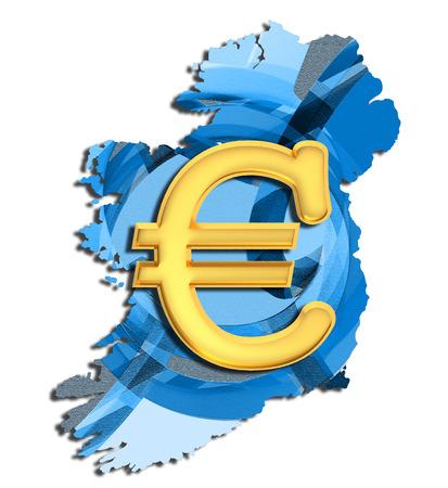 irish cities: Map of Ireland with euro sign Stock Photo