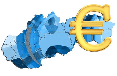 slovakia: Map of Slovakia with euro sign