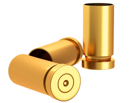 bullet proof: A pile of bullets and bullet shells on a white background