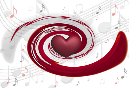 trill: Background with musical notes and heart