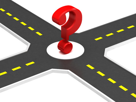 right path: Crossroads of roads with a question mark