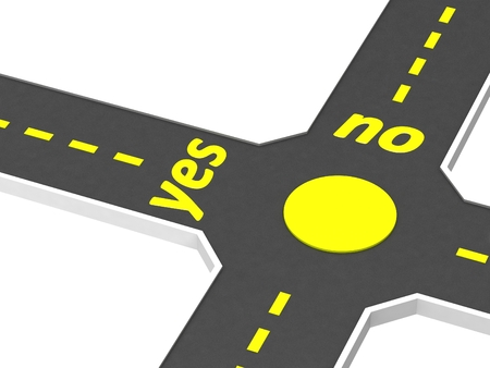 yes no: Crossroads of roads with inscription yes no