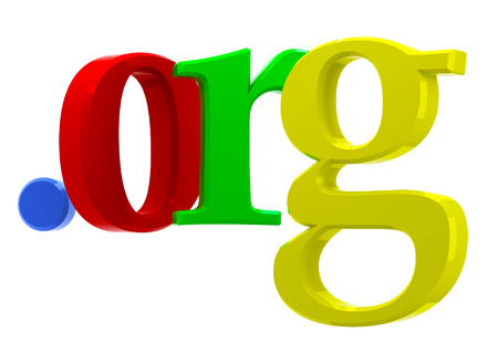 org: Colorful 3D text with top-level domain org
