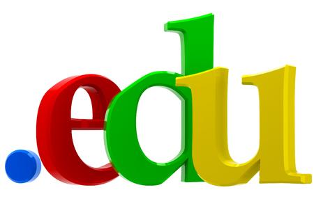 edu: Colorful 3D text with top-level domain edu