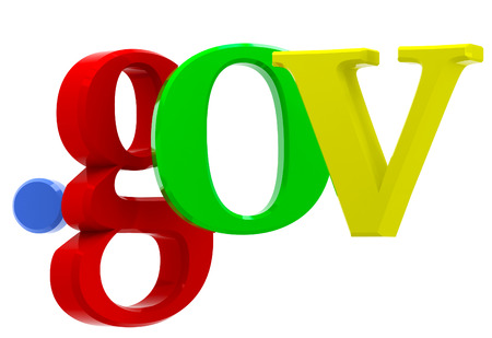 gov: Colorful 3D text with top-level domain gov