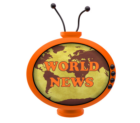 world news: Retro TV with inscription world news