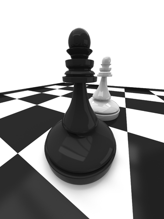 preferment: Black vs wihte chess pawn Stock Photo