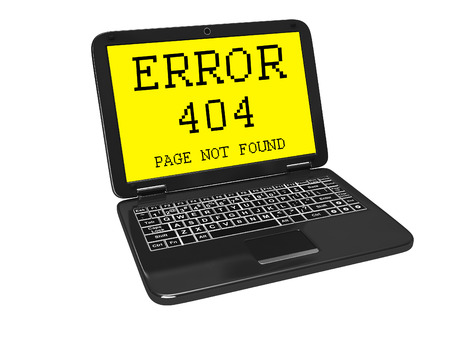 anti piracy: 404 error on the screen of the netbook Stock Photo