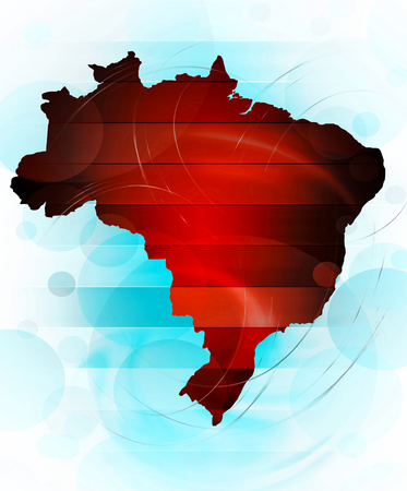 latin americans: Map of Brazil in abstract style Stock Photo