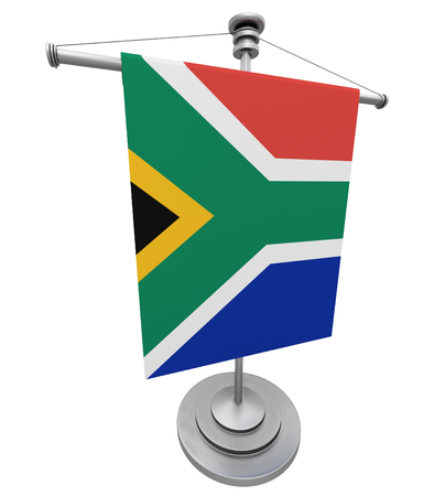 The flag South Africa on the flagpole Stock Photo
