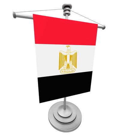 bandera egipto: Egipto bandera - bandera de mesa aislada en el fondo blanco