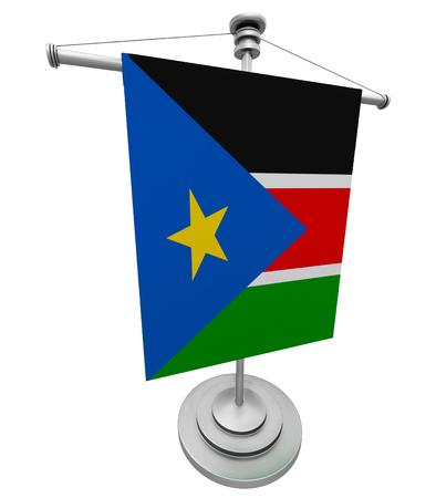 fluttering: The flag of South Sudan fluttering on flagpole