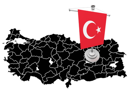 graphical chart: Map of Turkey filled with flag