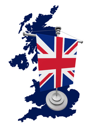 england politics: Great Britain Map with flag on white background