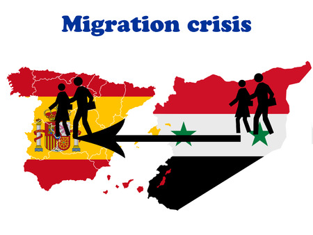 emigration and immigration: Migration crisis in Spain scheme Stock Photo