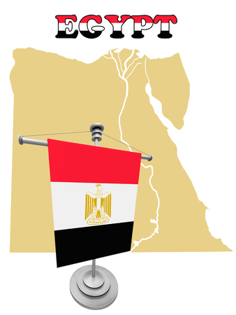 flagpole: A Map of the country of Egypt with flagpole
