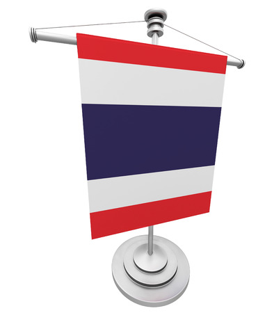 asian business meeting: Flag of Thailand on a flagpole on a white background