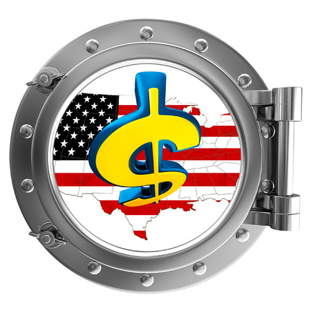 ship porthole: Chrome ship porthole with the image in window USA map with dollar sign