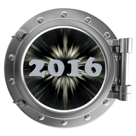 ship porthole: Chrome ship porthole with the image in window 2016