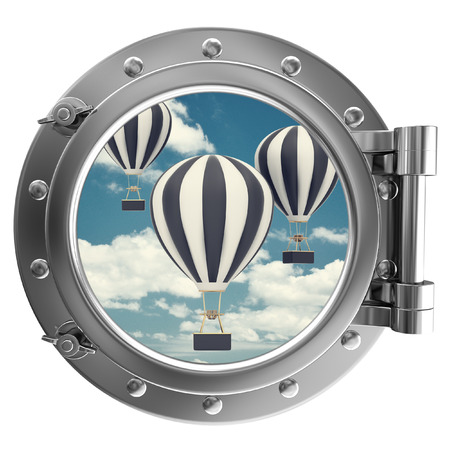 Chrome ship porthole with the image in window air balloon on sky