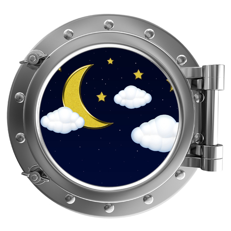 porthole window: Chrome ship porthole with the image in window moon with clouds Stock Photo