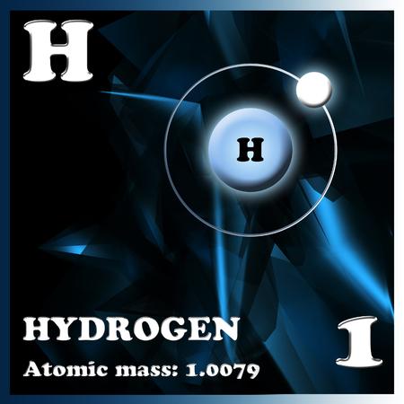 hidrogeno: El hidr�geno elemento en la tabla peri�dica de Mendeleev Foto de archivo