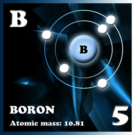 boron: The element boron in the periodic table of Mendeleev