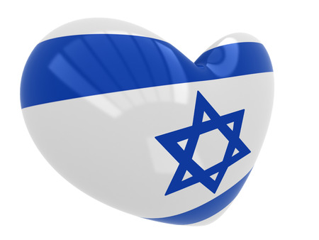 israel flag: Heart with Israel flag colors