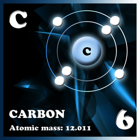 mendeleev: The element Carbon in the periodic table of Mendeleev Stock Photo