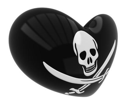 roger: Jolly Roger skull and crossed swords symbol button heart flag
