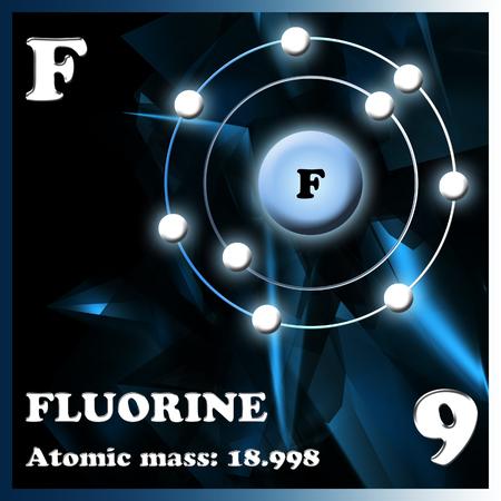 fluorine: Symbol and electron diagram for Fluorine illustration