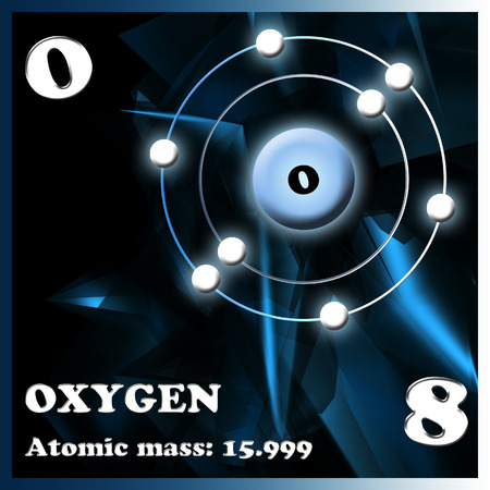 electron shell: Illustration of the element Oxygen Stock Photo