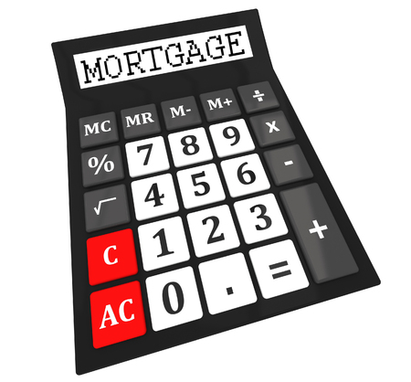 compute: Mortgage calculator isolated on white background Stock Photo