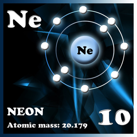 electron shell: Diagram representation of the element neon illustration Stock Photo